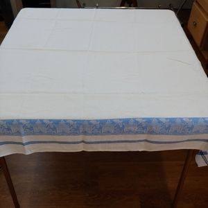 Vintage Square Tablecloth, White, Blue Pag…